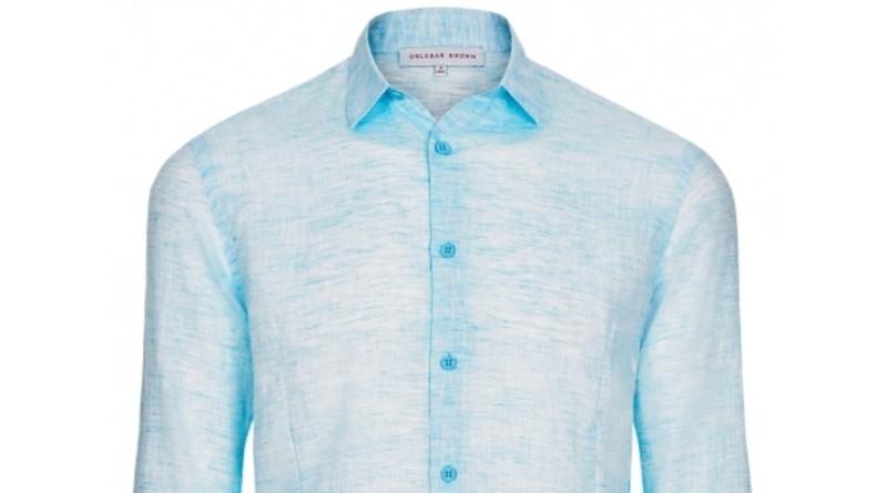budget Orlebar Brown Blue Linen Shirt SPECTRE