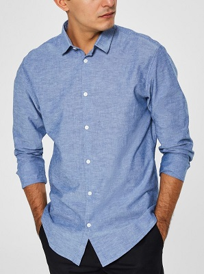 budget Orlebar Brown Blue Linen Shirt