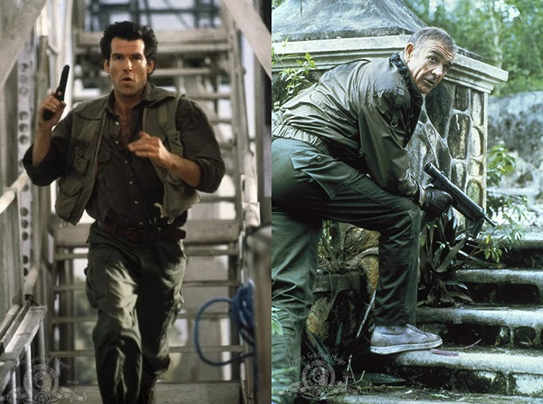Pierce Brosnan Sean Connery James Bond military style fatigue pants