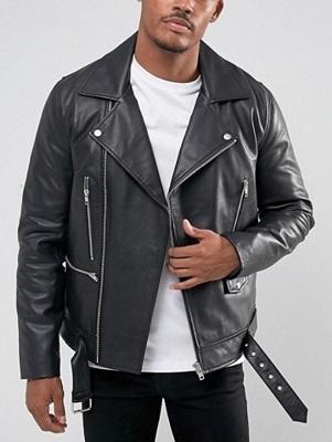 Budget Black Leather Double Rider Jacket