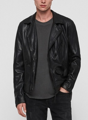 All Saints Black Leather Double Rider Jacket
