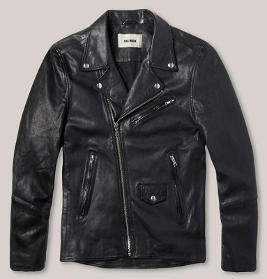 Buck Mason Bruiser Black Leather Double Rider Jacket