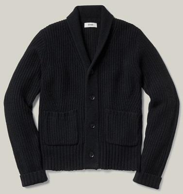 James Bond Buck Mason black shawl collar cardigan