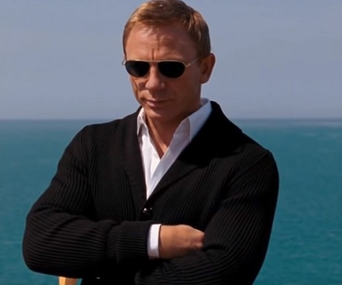 Daniel Craig James Bond Quantum of Solace Black Shawl Collar Cardigan