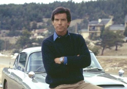 Pierce Brosnan James Bond Navy Aran Knit Sweater Goldeneye